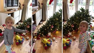 Triplets on santa's naughty list after pulling down christmas tree