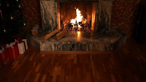 Christmas music by the fireplace