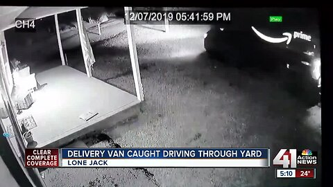 Amazon worker caught on cam driving through yard