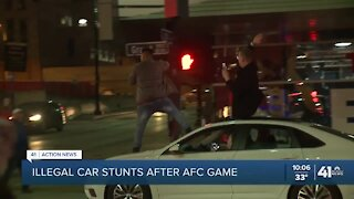Illegal car stunts after AFC game