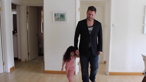 3-year-old girl dresses her dad for a week