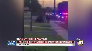 Police shoot stabbing suspect with bean bags