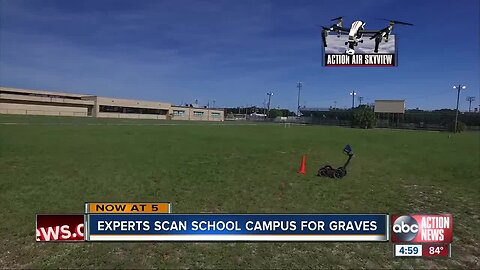 Technicians scanning a Tampa school campus for possible graves