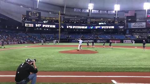 St. Petersburg Mayor Rick Kriseman throws out the first pitch at the Trop