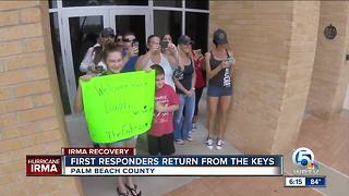 Families welcome first responders returning home from the Keys - Video