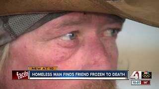Homeless man finds friend frozen to death - Video