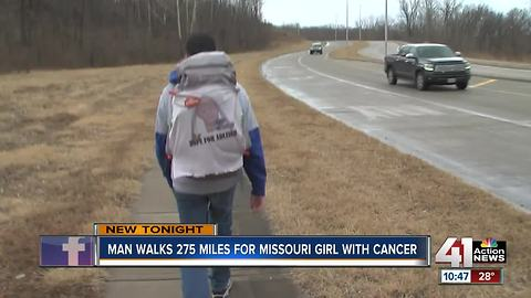 Man walking from KC to STL for girl with cancer