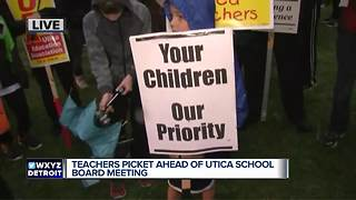 Teachers picket ahead of Utica school board meeting - Video