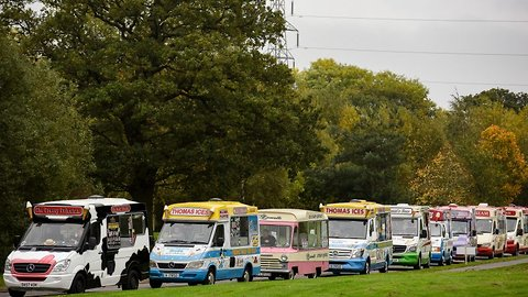 Will they scoop a world record? Ice cream vans travel from across europe to form longest convoy ever
