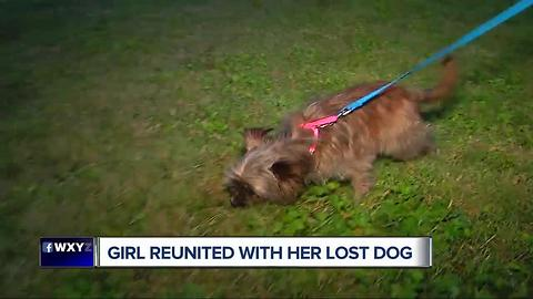 Girl reunited with her lost dog