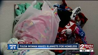 Woman makes blankets for homeless - Video