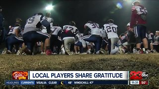 Local football players share gratitude