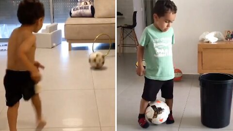 FIVE-YEAR-OLD WONDERKID BECOMES VIRAL SENSATION BY PERFORMING AMAZING FOOTBALL TRICK SHOTS