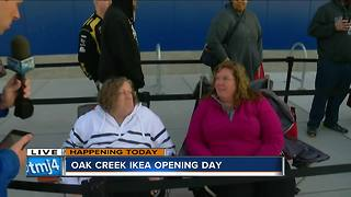 Customers wait in line hours before IKEA's grand opening day