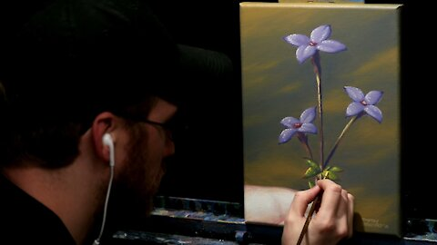 Acrylic Painting of a Spring Wild Flower - Time Lapse - Artist Timothy Stanford