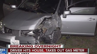 Driver hits house, takes out gas meter - Video