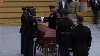 Flag folding ceremony at the funeral for U.S. Army Sgt. Jonathon Hunter - Video