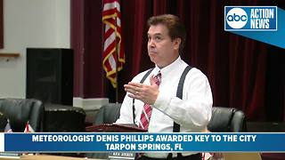 Chief Meteorologist Denis Phillips awarded key to Tarpon Springs - Video