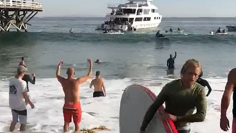 Malibu Surfers Gather Supplies for Fire Relief from Yacht