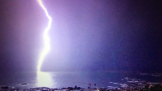 Powerful Lightning Strikes Out Of The Blue, Knocking Cell Phone  - Video
