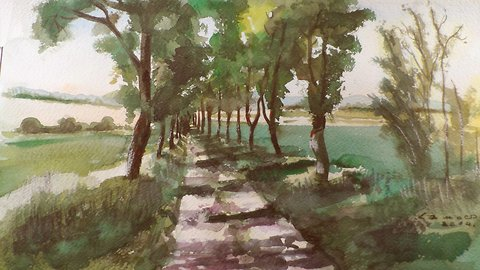 Road with trees watercolor painting