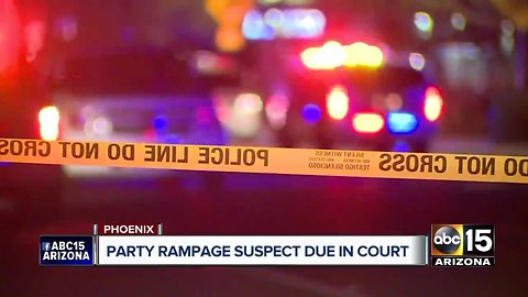 Party rampage suspect due in court