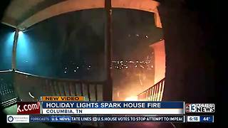 Christmas lights start fire - Video