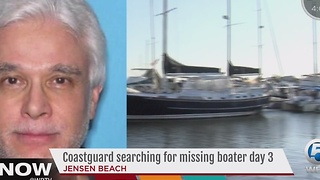 Coastguard searching for missing boater day 3