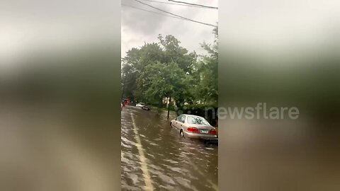 Cars left partially submerged on residential New Orleans street as Storm Barry hits