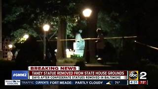 Roger B. Taney statue removed from State Hose grounds Friday morning - Video