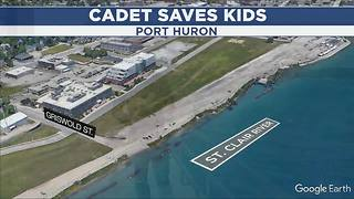 Police cadet risks own life to save two girls swept up in St. Clair River - Video