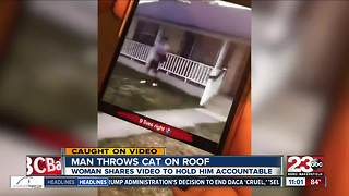Caught on video: man throws cat onto house roof - Video
