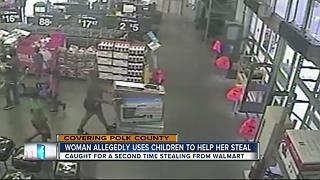Woman allegedly uses children to help her steal - Video