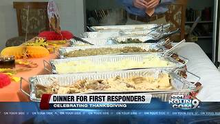 A Thanksgiving dinner for first responders - Video