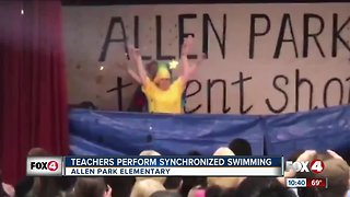 Teachers perform 'synchronized swimming' on stage