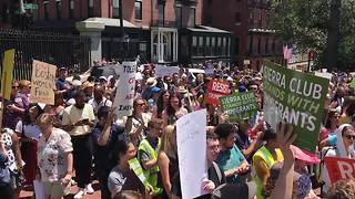 Hundreds in Boston protest Trump's policy of separating families at the border - Video