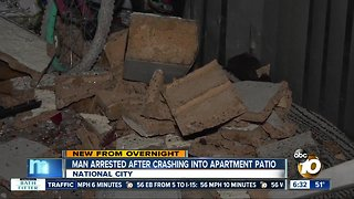 Driver crashes into apartment patio in National City