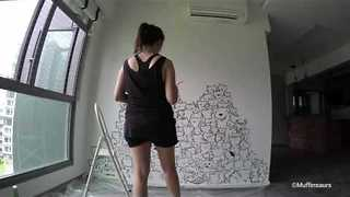 Artist Creates Purr-Fect Mural For Cat Loving Couple - Video