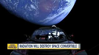 Radiation will destroy Tesla Roadster in space - Video
