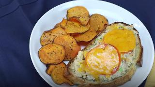 Open-Face Tuna Melt with Oven-Baked Sweet Potato Chips - Video