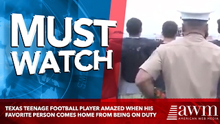 Texas Teenage Football Player Amazed When His Favorite Person Comes Home From Being On Duty - Video