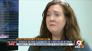 Schools help classmates of three children killed in crash - Video
