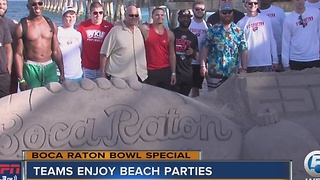 Boca Raton Bowl Teams Enjoy Beach Parties - Video