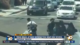 VIDEO: Teens brawl at busy intersection near high school