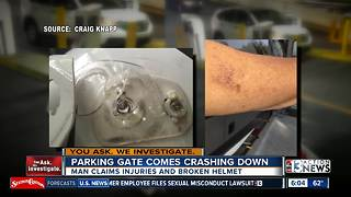 Casino parking gate blamed for damage and injury - Video