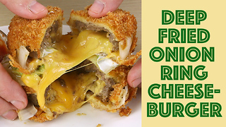 Deep fried onion ring burger guac sandwich - Video