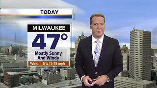 Mostly sunny, windy, and colder Wednesday