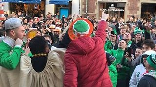Irish Fans Sing Ahead of Match with Denmark - Video