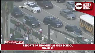 Students escorted out of school after reports of active shooter at high school near Miami - Video