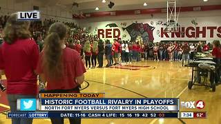 Historic football rivalry in high school playoffs pep rally - Video